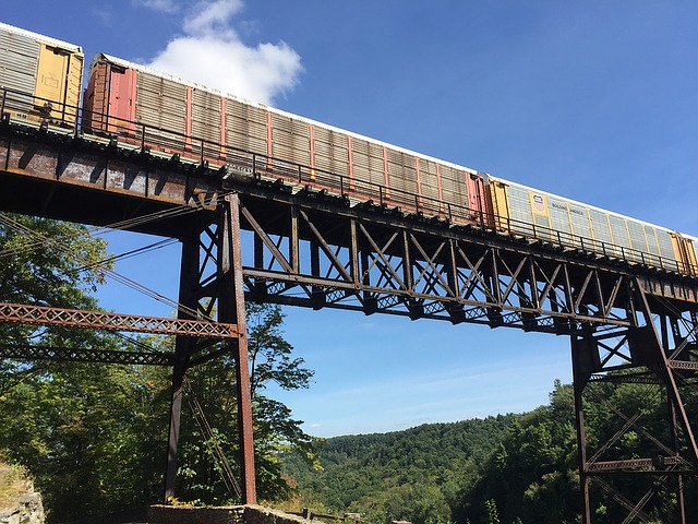 Train going across a bridge